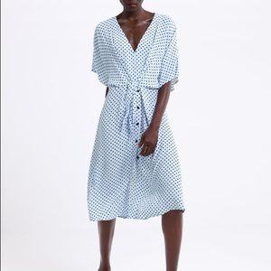 Zara Light baby blue polka dot tie midi dress